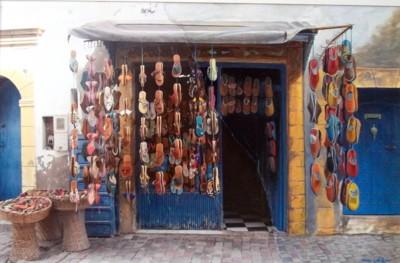 Boutique de babouches et de sandales, photo et acrylique sur papier, 48 x32,