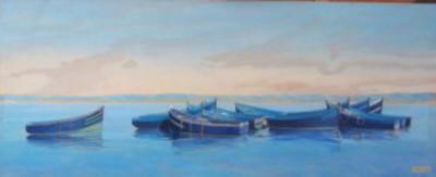 Rapsodie en bleue, technique mixte, 110 x 45