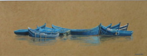 Attente, acrylique sur papier, 48 x 15