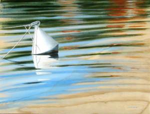 Bouée et reflets 2, acrylique sur papier contrecollé sur bois, 60 x 46