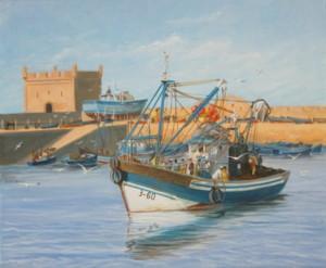 Départ pour la pêche, acrylique sur toile, 46 x 38