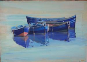 Reflets bleus, technique mixte, 100 x 72