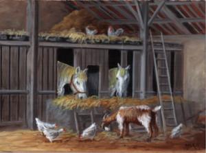 Les animaux dans la grange, huile sur bois, 22 x 16