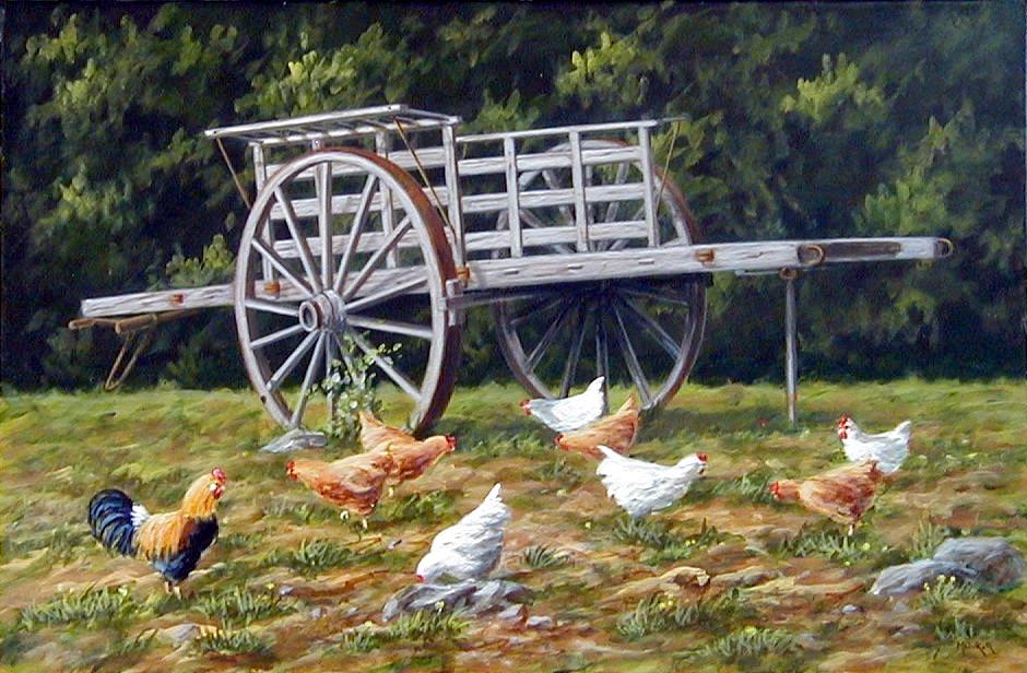 La charrette, acrylique sur toile, 55 x 36
