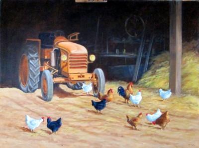Le Renault dans la grange, acrylique sur toile, 81 x 60