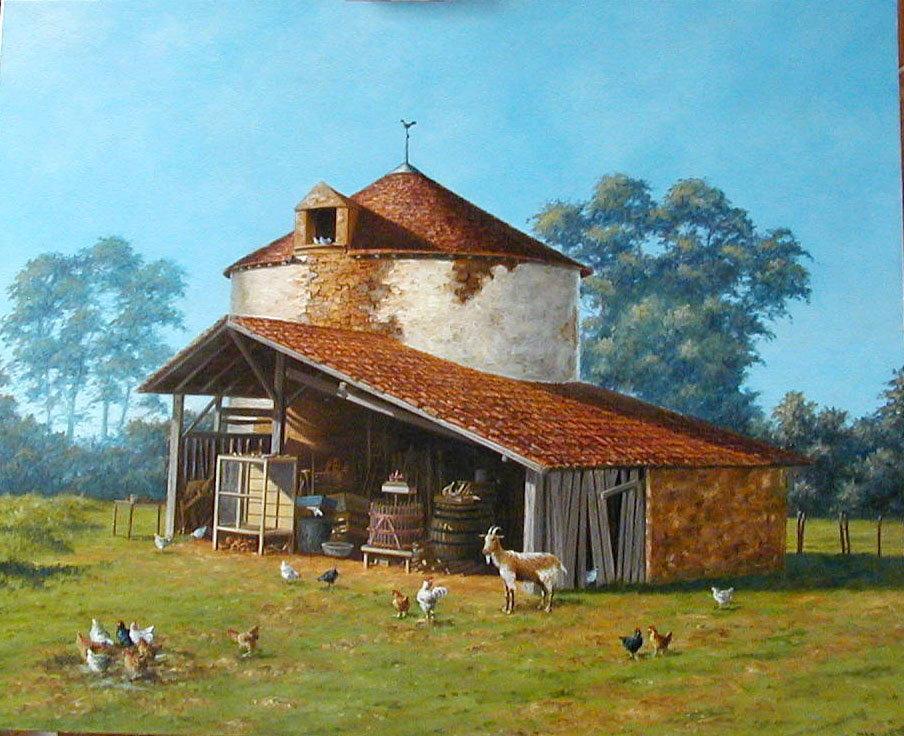 Le pigeonnier, huile sur toile, 100 x 81
