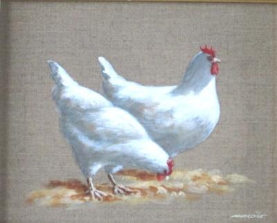 Poules au soleil, acrylique sur toile, 33 x 24