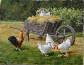 Poules et coq autour de la brouette, acrylique sur toile, 55 x 36