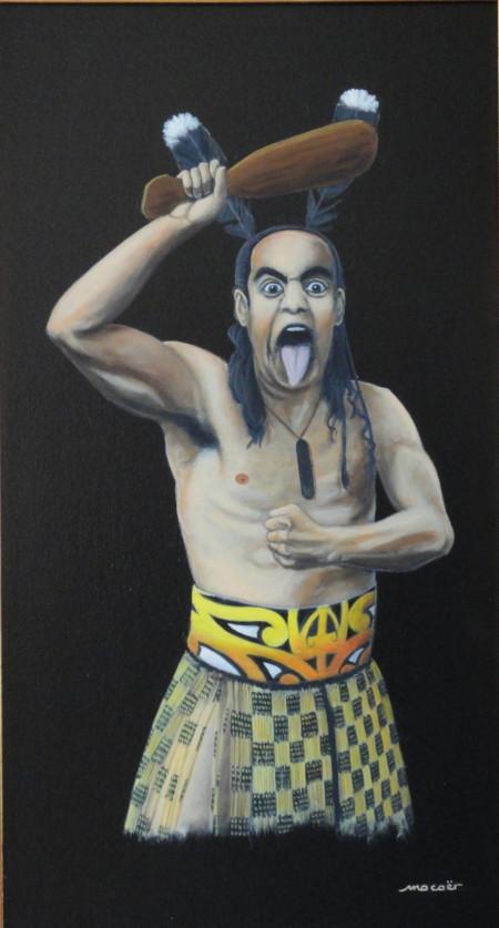 Haka, acrylique sur toile, 58 x 32
