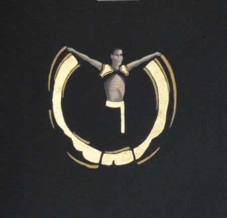 Noir et or, acrylique et cuivre sur papier, 32 x 25