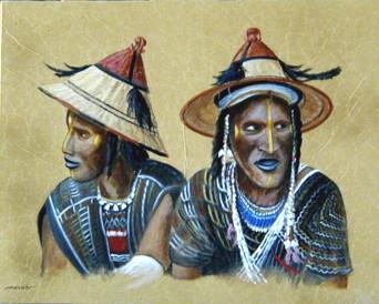 Secret tribal, technique mixte, 50 x 40