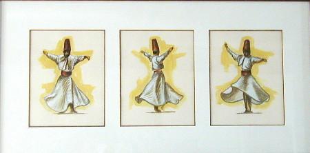 Trois p'tits tours, acrylique sur papier, 47 x 18