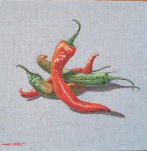 4 piments, acrylique sur toile, 20 x 20