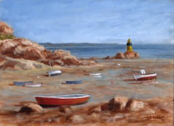 Marée basse et granit rose, acrylique sur bois, 18 x 14