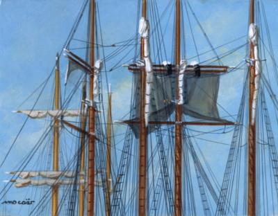 7 mâts, 3 équipages, acrylique sur bois, 18 x 14