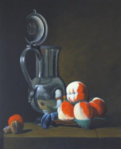 D'après Jean-Baptiste-Siméon Chardin, Pot d'étain avec plateau de pêches, prunes et noix