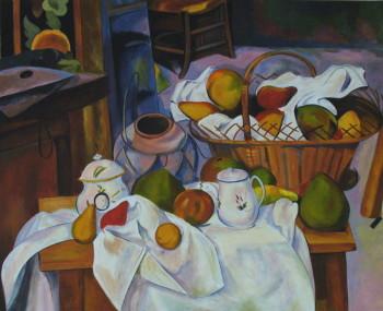 D'après Paul Cézanne, Nature morte au panier