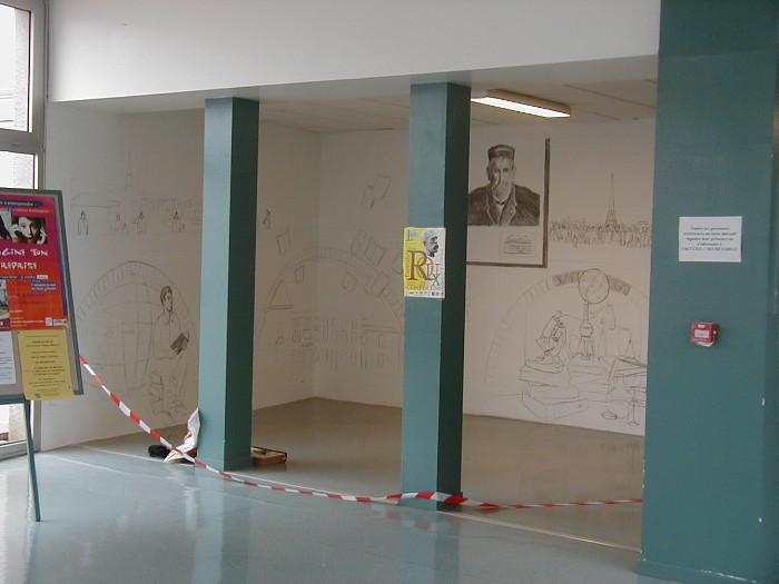 Fresque Emile Roux 8 x 2.65 m, dessin préparatoire, 2003