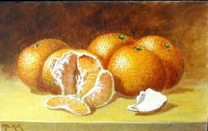 Mandarines, acrylique sur papier, 22 x 14