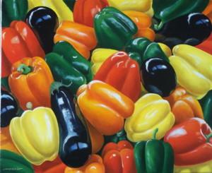 Aubergines et poivrons, huile sur toile, 46 x 38