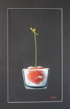 Cerise glacée, acrylique sur papier, 41 x 24