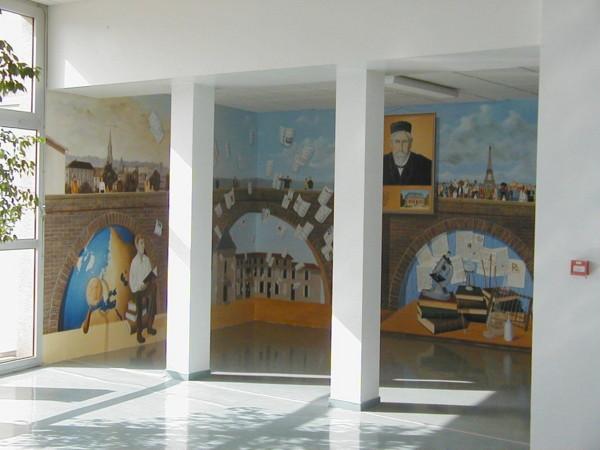 """Fresque """"Hommage au chercheur Emile Roux"""", Lycée Départemental Emile Roux, Confolens 16"""