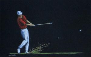Joueur de golf, technique mixte, 28 x 18