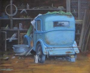 La peugeot dans la grange, acrylique sur papier,  21 x 17