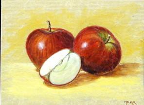 Pommes rouges, acrylique sur papier, 25 x 19