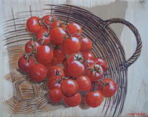Tomates cerises,  technique mixte, 24 x 19